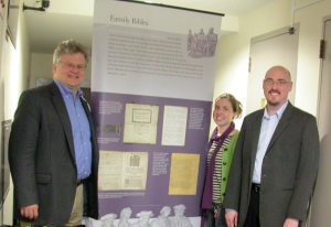 April 15, 2011: The day the panels arrived! Folger exhibition team. L to R, curator Hannibal Hamlin, exhibitions manager Caryn Lazzuri, curator Steve Galbraith