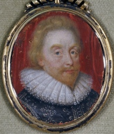 James I. Miniature on vellum, ca.1620?. Folger.