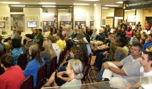 A large crowd gathered to hear four Kennesaw State University faculty disccus the history and language of the King James Bible.