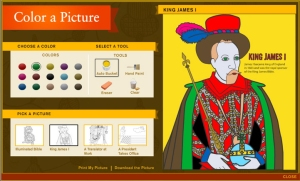 King James, seen here in our online coloring activity, did not translate the King James Bible. It also wasn't published on May 2.