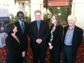 At Rhodes College. L to R: Naomi Tadmor, Vincent Wimbush, Hannibal Hamlin, Ena Heller, Robert Alter