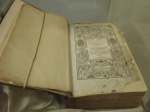 "1583 Geneva Bible owned by Robert S. Edington.  Also known as the ""Breeches Bible,"" in reference to the Genesis iii:7 passage regarding Adam and Eve clothing themselves in ""breeches"" made from fig leaves.   Photo courtesy of Mobile Public Library."