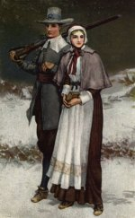 Artistic rendering of John and Priscilla Alden.