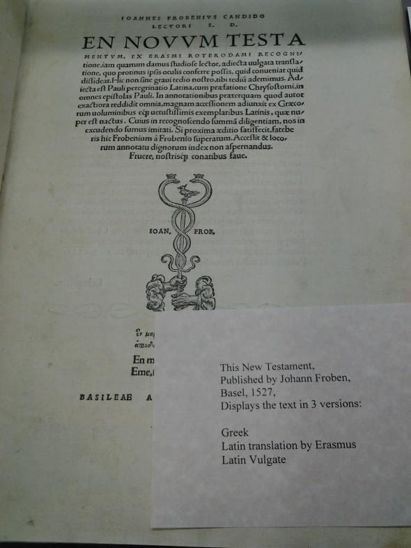 Title page of En Novvm Testa. Basel, 1527. Menno Simons Historical Library. Image courtesy of Eastern Mennonite University.