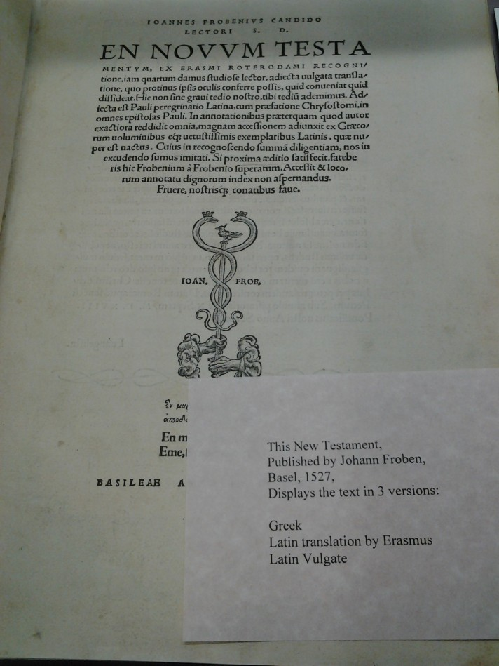 Title page of En Novvm Testa. Basel, 1527. Menno Simons Historical Library. Image courtesy of Eastern Mennonite University.