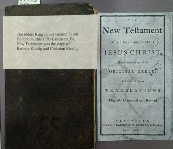 Oldest King James Bible in the Menno Simons Historical Library collection, and its title page. Lancaster, PA, 1793. Menno Simons Historical  Library. Image courtesy of Eastern Mennonite University.