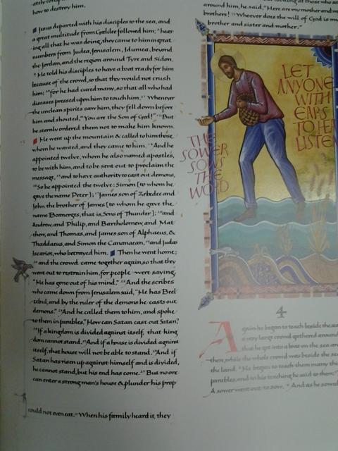 From the Gospel of Mark, chapter 3.  Collegeville, MN, 2005.  Hartzler Library, Eastern Mennonite University. Image courtesy of Eastern Mennonite University.