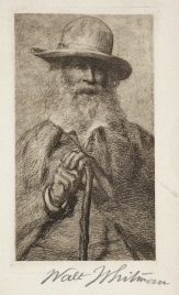 Walt Whitman. From a copy of Shakespeare's works associated with Whitman. Folger.