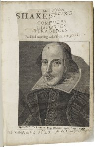 "Shakespeare First Folio, 1623. Damaged and ""perfected"" title page. Folger."