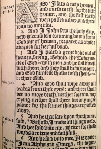 Pen facsimile page, 1611 Authorized Bible (King James Bible), Folger
