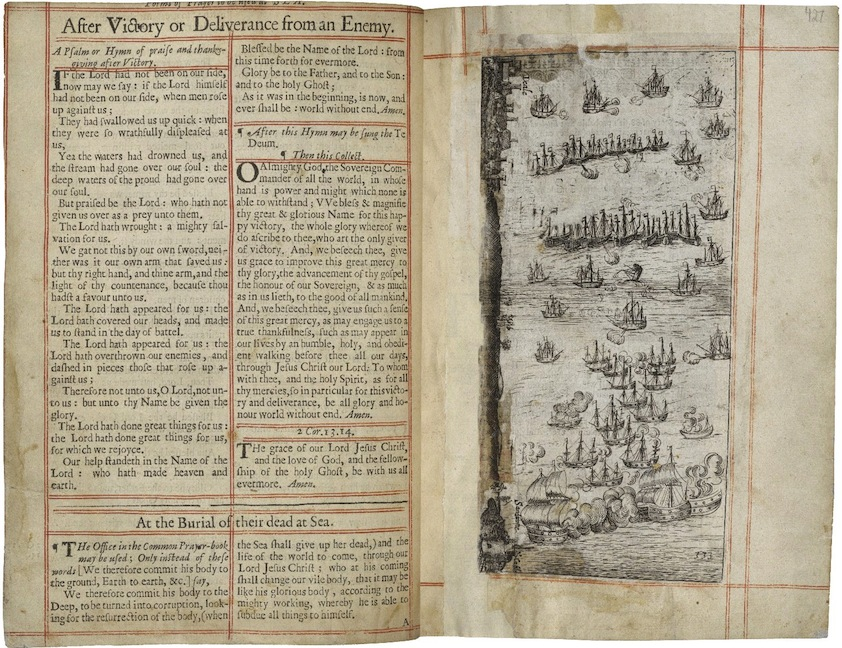 Dutch navy defeats the Spanish in the English Channel, Battle of Downs. 1664 Book of Common Prayer. Folger.