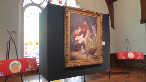 Minnie G. Brown's Nativity, flanked by kneelers from St. Anne's Episcopal Church