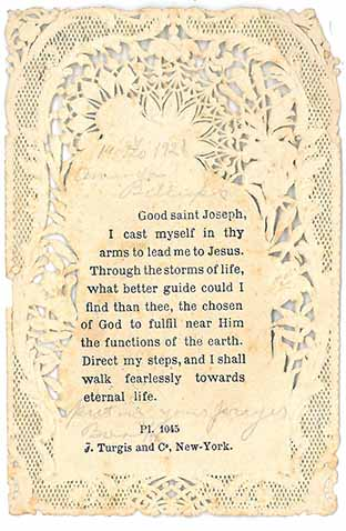 Saint Joseph text on lace paper, with manuscript annotations