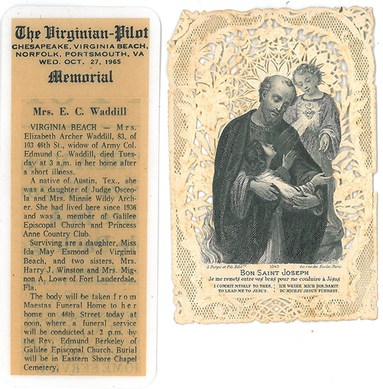Obituary bookmark and Saint Joseph etching on lace paper