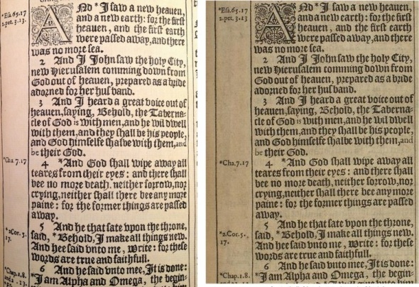 At left: Pen facsimile of final page from Folger copy. At right: original printed page from 1611 King James Bible, University of Pennsylvania