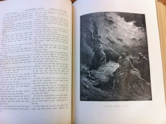 Bible, ca. 1880s, Cassell, Peter, and Galden, 2 volumes. Illustration by Gustave Dore. Centre College. Exhibited with Manifold Greatness.