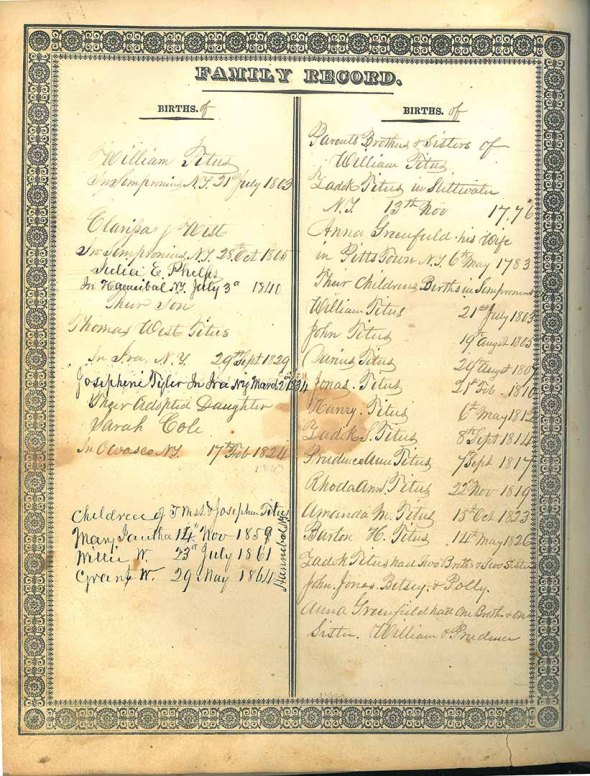 Titus family record in family Bible